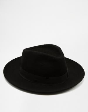 Catarzi Мягкая шляпа с плоской круглой тульей и широкими полями. Цвет: черный