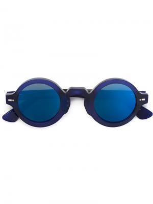 Солнцезащитные очки в круглой оправе Movitra. Цвет: синий