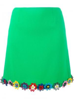 Юбка с цветочным украшением Mary Katrantzou. Цвет: зелёный