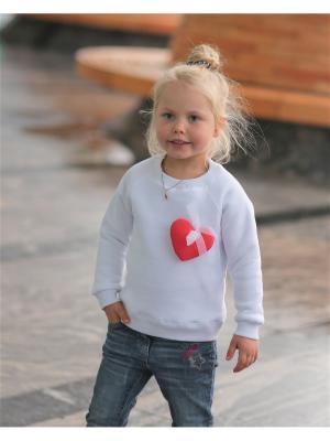 Свитшот для девочки с сердцем белый Yuumi. Цвет: белый