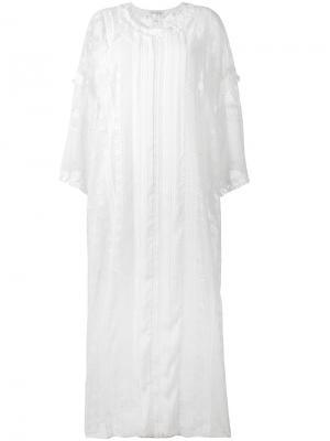 Кружевное платье шифт Oscar de la Renta. Цвет: белый