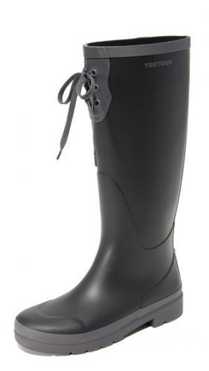 Высокие резиновые сапоги на шнуровке Tretorn. Цвет: черный/темно-серый
