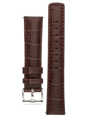 Водонепроницаемый ремешок для часов из кожи теленка с фактурой под аллигатора. Ширина от 18 до 24 мм Signature. Цвет: темно-коричневый