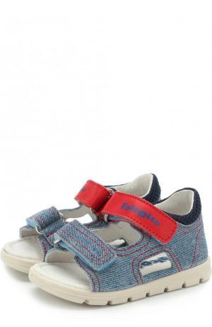 Сандалии с текстильной отделкой и застежками велькро Falcotto. Цвет: голубой