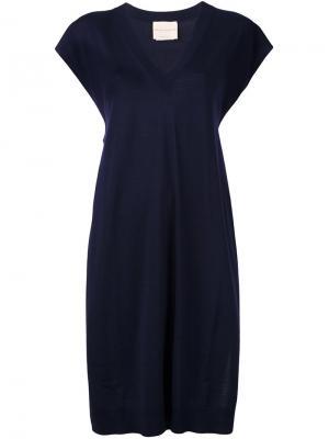Платье с V-образным вырезом Erika Cavallini. Цвет: синий