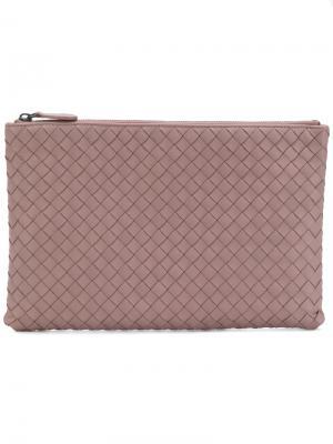 Косметичка с плетеной отделкой Bottega Veneta. Цвет: розовый и фиолетовый