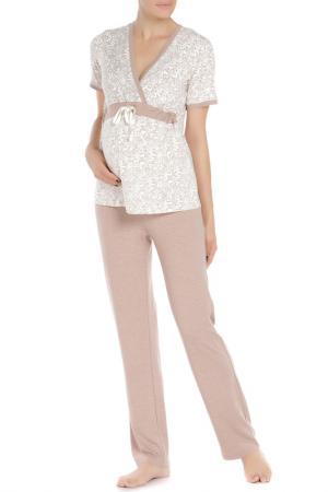 Пижама для беременных Nuova Vita. Цвет: молочный, мокко