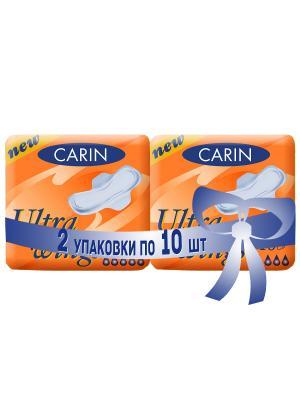 Женские гигиенические прокладки Ultra Wings для чувствительной кожи, 2 упаковки по 10 шт\уп. Carin. Цвет: белый