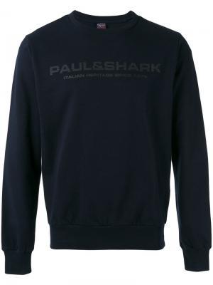 Толстовка с принтом-логотипом Paul & Shark. Цвет: синий