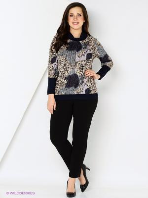Блузка СТиКО. Цвет: бежевый, темно-синий, сиреневый