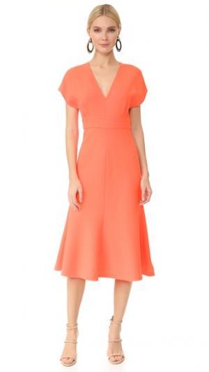 Платье с расклешенной юбкой Lela Rose. Цвет: лососевый