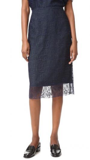 Кружевная юбка-карандаш Grey Jason Wu. Цвет: морской/глубокий лес