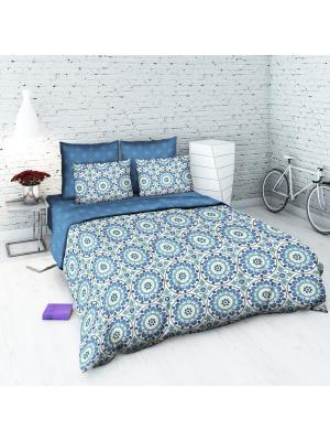 Комплект постельного белья из бязи Семейный Василиса. Цвет: голубой