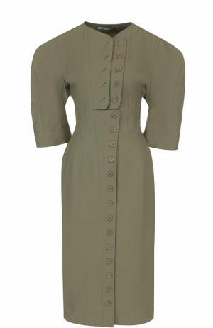 Приталенное платье с укороченными рукавами-фонарик Stella McCartney. Цвет: хаки