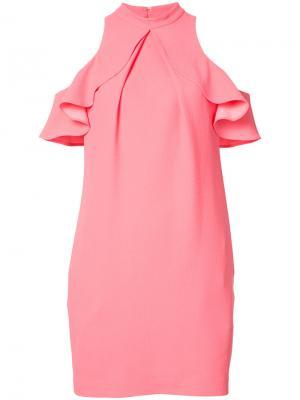 Платье со спущенными плечами с рюшами Trina Turk. Цвет: розовый и фиолетовый