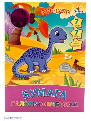 Динозаврик. Дизайн 4 (ЦБГ7792) 7л.7ц. НАБОРЫ ЦВЕТНОЙ БУМАГИ Канц-Эксмо. Цвет: сиреневый