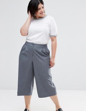 Junarose Юбка-брюки в строгом стиле Plus. Цвет: серый