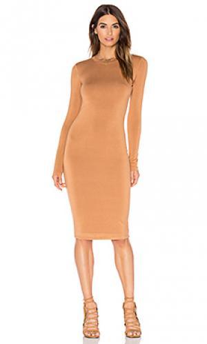 Мини-платье с длинным рукавом BLQ BASIQ. Цвет: цвет загара
