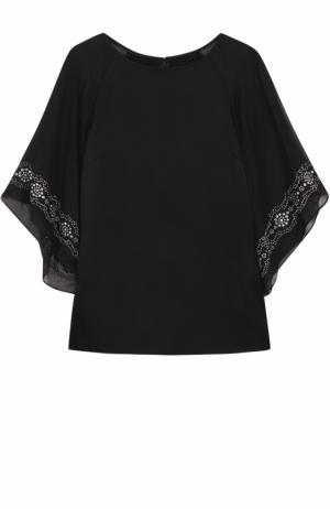 Топ свободного кроя с декорированными рукавами St. John. Цвет: черный