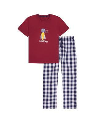 Пижама Endo. Цвет: бордовый, белый, синий