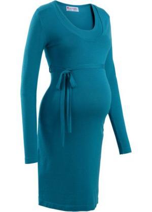 Мода для беременных: вязаное платье с поясом (синий океан) bonprix. Цвет: синий океан