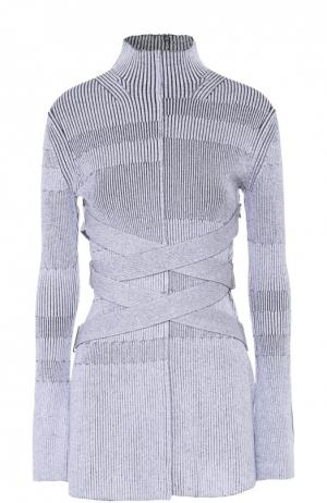 Удлиненный пуловер фактурной вязки и воротником-стойкой Proenza Schouler. Цвет: черно-белый