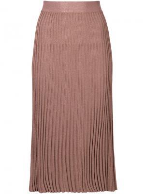 Плиссированная юбка миди Prada. Цвет: розовый и фиолетовый