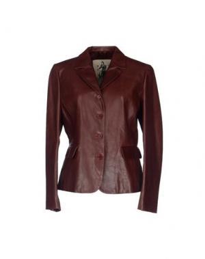 Верхняя одежда из кожи MARIELLA BURANI. Цвет: красно-коричневый