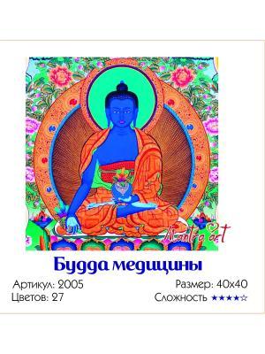Живопись на холсте Будда медицины + диск в подарок MantraArt. Цвет: белый