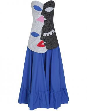 Хлопковое платье Tata Naka. Цвет: синий, красный, белый, серый