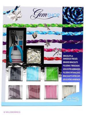 Набор для детского творчества Плетеные браслеты SENTOSPHERE. Цвет: голубой, зеленый, серый, сиреневый