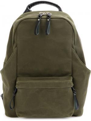 Рюкзак с прорезными карманами Cornelian Taurus By Daisuke Iwanaga. Цвет: зелёный