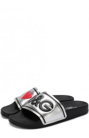 Кожаные шлепанцы с металлизированной отделкой Dolce & Gabbana. Цвет: серебряный