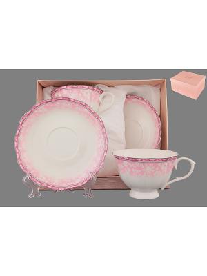 Чайная пара 4 предмета Розовое кружево Elan Gallery. Цвет: белый, розовый