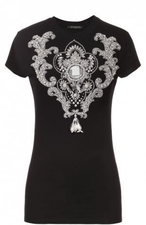 Приталенная футболка с декоративной отделкой Balmain. Цвет: черный