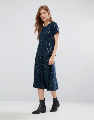 YMC Шерстяная юбка-трапеция миди с принтом. Цвет: синий
