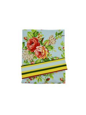 Комплект портьер Rose blu 140х до 280 см с подхватами цветы T&I. Цвет: голубой