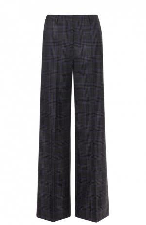 Шерстяные широкие брюки в клетку Dries Van Noten. Цвет: серый