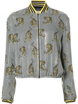 Куртка-бомбер  с полосатым принтом Giamba. Цвет: чёрный