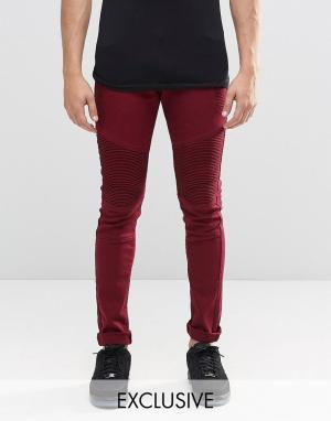 Liquor & Poker Бордовые супероблегающие байкерские джинсы. Цвет: красный