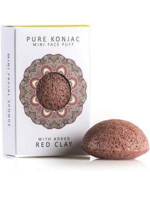 Воздушный Подарочный  Мини-спонж Конняку для лица Premium с красной глиной The Konjac Sponge Company. Цвет: красный