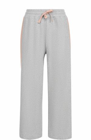 Укороченные широкие брюки с лампасами Deha. Цвет: серый
