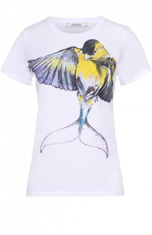 Хлопковая футболка прямого кроя с контрастным принтом Dorothee Schumacher. Цвет: белый