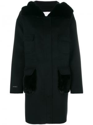 Пальто с мехом норки Manzoni 24. Цвет: чёрный