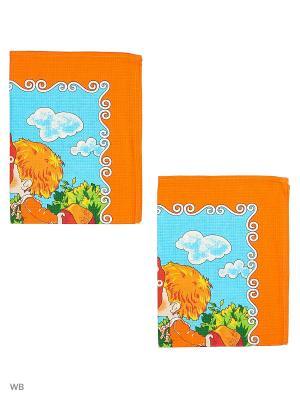 Набор полотенец вафельных кухонных Римейн. Цвет: зеленый, оранжевый