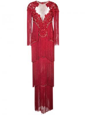 Кружевное платье с вышивкой Marchesa. Цвет: красный