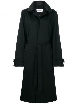 Пальто с поясом Oamc. Цвет: чёрный