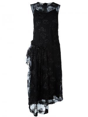 Платье с полупрозрачным верхним слоем Simone Rocha. Цвет: чёрный