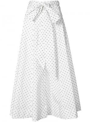 Длинная юбка в горох Lisa Marie Fernandez. Цвет: белый