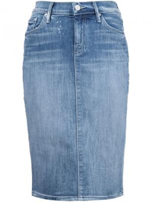 Джинсовая юбка-карандаш Mother. Цвет: синий